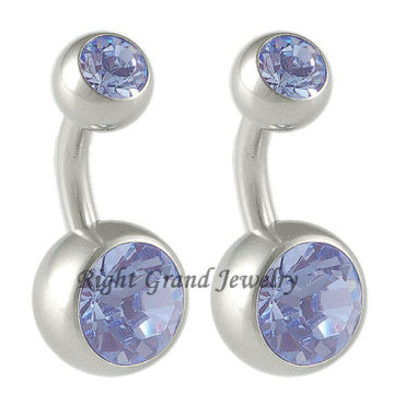 Top Venda G23 Titanium Duplo Cristal Umbigo Umbigo Anéis
