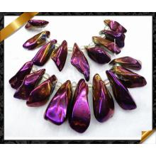 Perles violettes, collier pendentif point, bijoux en cristal (GB043)