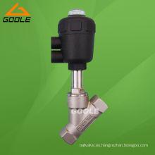 Cuerpo de acero inoxidable / Actuador neumático de plástico / Válvula de asiento en ángulo (GAYASV)