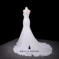 Elegante vestido de casamento de sereia de marfim trem de painel removível mais vendido 2016
