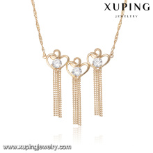 43899 accessories for women necklace fashion luxury heart type white zircon stone gold plated tassel necklace
