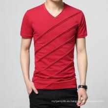 Camiseta al por mayor de encargo de los hombres del algodón de la manera del cuello en V