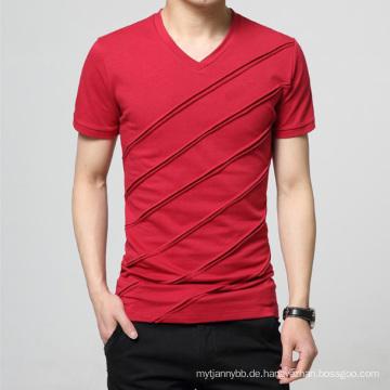 Benutzerdefinierte Großhandel Plain V-Ausschnitt Mode Baumwolle Männer T-Shirt