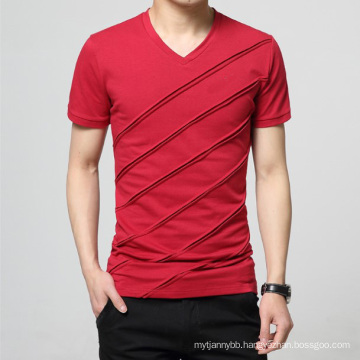 Custom Wholesale Plain V Neck Fashion Cotton Men T Shirt