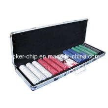 600PCS poker chip set em rodada caixa de alumínio de canto (SY-S30)