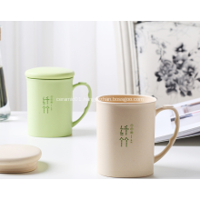 Bamboo Fiber Plastic Tableware Mugs with Lid