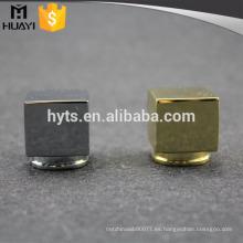 Tapa de botella de perfume de aleación de zinc brillante de 15 mm cuadrados de lujo