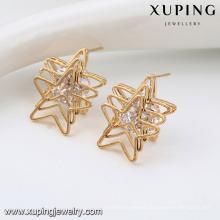 92588 New model design fashion gold plated jewelry 4pcs/set multi layer star shape design insert white diamond stud earrings