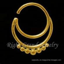 India nariz Piercing nariguera de oro joyería 24K chapado en oro de 16G
