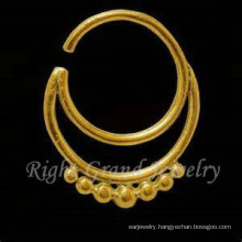 16G Gold Plated Indian Nose Piercing Jewelry 24K Gold Nose Ring