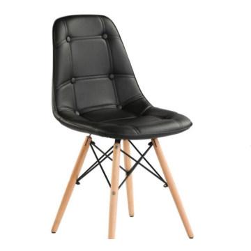 Asiento Pu con cojín de espuma patas de madera silla de comedor