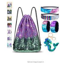 Mermaid Reversible Sequin Drawstring Backpack/Bag for Kids Girls