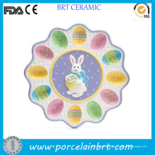 Nice Painted Ceramic Bunny Easter Egg Tray