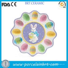 Bandeja de ovo de Páscoa de coelho de cerâmica pintada agradável