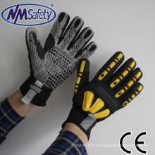 Luvas de mão de couro sintético de manguito de neoprene NMSAFETY couro com luva TPR couro