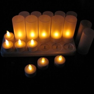 Rechargeable LED tealight candle set