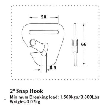 50mm Delta Flat Snap Hook Sliver Metal Zinc Paint