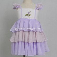 Boutique Purple Embroidered Chiffon Ruffle Girl Dress