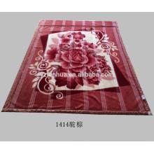 Full Size Camel Brown Polyester Flower Printed Raschel Mink Blankets