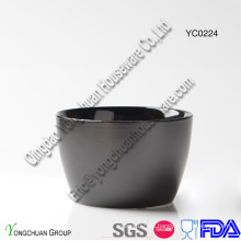 Tazón de cerámica de servicio negro para la venta al por mayor
