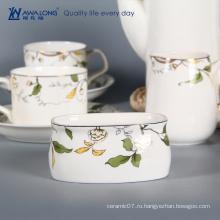 Pure White Logo Индивидуальные фарфоровые антикварные кофейные и чайные наборы 15 шт.