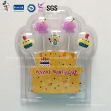 Vela de aniversário bonito dos desenhos animados para a decoração do bolo