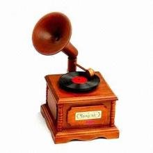 13 x 13 x 15 cm γραμμόφωνο παιχνίδι, κατασκευασμένα από μασίφ ξύλο, λογότυπο μπορεί να τυπωθεί για προσφορές