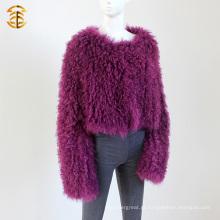 Star Fashion Design Casaco de pele de cordeiro mongol Mulheres genuínas Casaco de pele de carneiro mongol popular