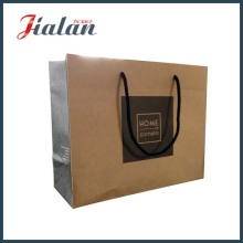 Logotipo de estampa quente preto impresso 157g Brown Kraft Paper Bag