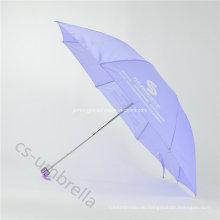 "21 ""Light Purple Print Logo 4 Falten Regenschirm (YS4F0003)"