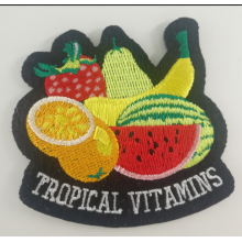 Black Felt Fruit Embroidery Patch Heat Glue Backing