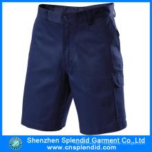 Venda quente de algodão da broca azul marinho carga de trabalho Shorts