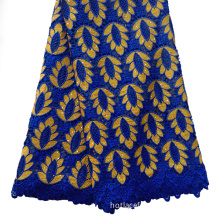 Leaf design best quality african guipure lace fabric with rhinestones