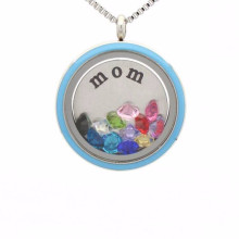 Beautiful floating locket enamel disc necklace jewelry