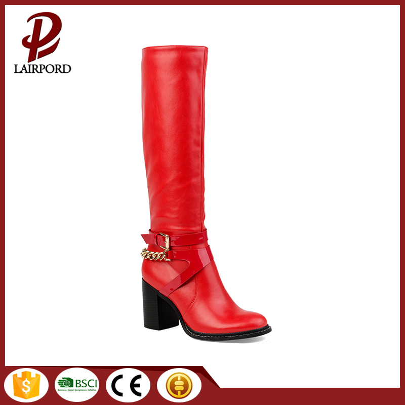 bolck heel red leather half women boots