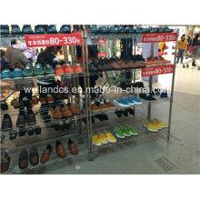 4 яруса Регулируемая стойка для магазина обуви из хром металла