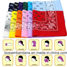 OEM Produce barato personalizado promocional duplo impresso 100% algodão Paisley Cowboy Bandanas