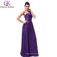 Grace Karin púrpura largo gasa un hombro vestido de dama de honor CL6022-5 #
