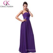 Grace Karin Purple Long Chiffon One Shoulder Bridesmaid Dress CL6022-5#