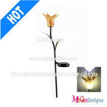 Fashionable Metal and Glass Flower Shape Solar Lights Stake