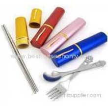Silver Portable Tableware Stainless Steel Chopsticks Suit Environmental Spoon Fork Chopsticks Three Piece Suit