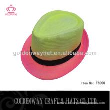 Bunte Sommer Fedora Hüte Papier Stroh Neon Farbe klassischen Design für Party