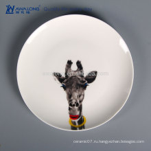 Животный рисунок симпатичный стиль керамической тарелки, кость Китай посуда оптом из Китая