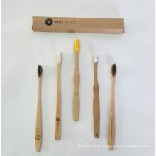 Adulte et kits brosse à dents en bois de bambou