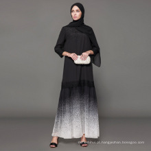 Fabricante de rótulo proprietário Designer de marca oem mulheres vestuário islâmico personalizado dubai fancy dress abaya bordado preto