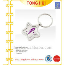 Silver star shape printing logo metal keychains for famous brands