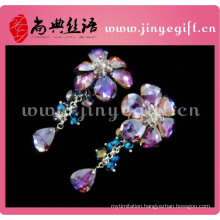 big hot flower long high drop crystal new latest model 2014 wholesale rhinestone women fashion earring