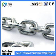 Fábrica de cadena de enlace de acero dulce ordinaria chapada en zinc