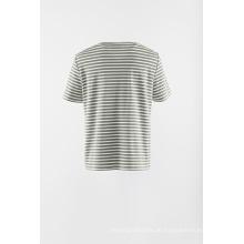 Applique gestreiftes kurzärmliges T-Shirt