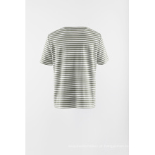 Listra de apliques malha manga curta camiseta
